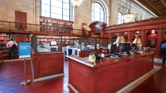 New York Public Library interior Stock Footage