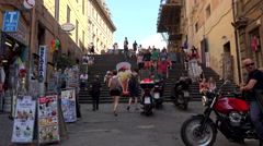 Rome Italy busy cafe steps up street 4K 077 Stock Footage