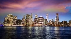 Stock Video Footage of Red sunset with Lower Manhattan river reflections