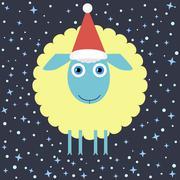 Flat Design Christmas Lamb Stock Illustration