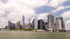 New York Lower Manhattan from East River - stock footage