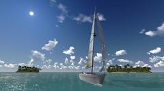 Stock Illustration of yacht in sea