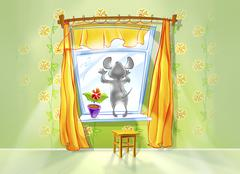 Little mouse looking out of the window. - stock illustration