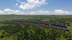 Beautiful green vilage landscape. Stock Illustration