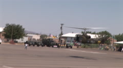 Medivac lands with helicopter gunship Stock Footage