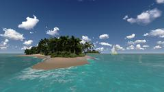 tropical island and yacht - stock illustration