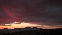 SUN SETS LIGHTING UP DARK RED CLOUD HD - stock footage