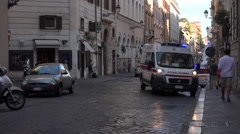 Rome Italy busy road police ambulance accident 4K 102 - stock footage