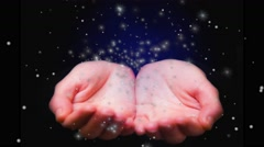 Horoscope cancer sign. Female hands holding zodiac sign for Cancer. - stock footage
