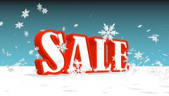 sale text and flying snowflakes - stock footage