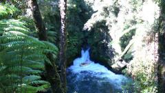 Descent from the Tutea Falls. Kaituna rafting in New Zealand Stock Footage
