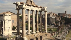 37 Roman Forum Temple of Saturn 1080P Stock Footage
