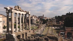 38 Roman Forum Temple of Saturn WS 1080P Stock Footage