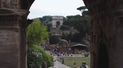 39 Roman Forum Titus Arch through Septimus 1080P Stock Footage