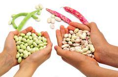 organic string beans on white background - stock photo