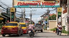 Busy beach street Thailand Stock Footage