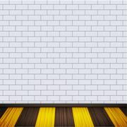 Vector wall with wooden floor. - stock illustration
