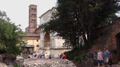 43 Roman Forum Titus Arch WS Side 1080P Stock Footage