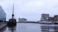 Boats in harbor Town 1920x1080 full hd footage Stock Footage