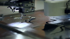 Footwear production. View of sewing material - stock footage