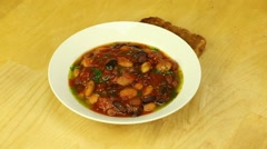 Vegetarian dinner with beans and tomatoes Stock Footage
