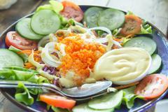 Tobiko vegetable salad Stock Photos