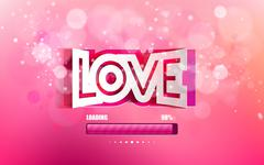Vector convex paper inscription love cut on a pink background - stock illustration