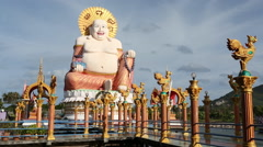 Laughing buddha statue dolly Thailand Stock Footage