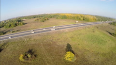 Highway road car aerial view Route Stock Footage