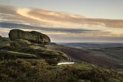Beautiful autumn fall landscape of hope valley from stanage edge in peak dist Stock Photos