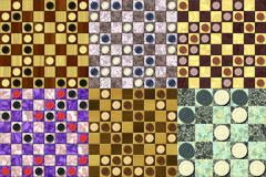 set of checkerboard generated seamless texture - stock illustration