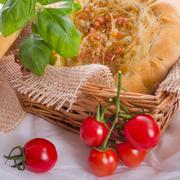 Onion tart and Federweisser(Nouveau) Stock Photos