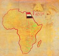 egypt on actual vintage political map of africa - stock illustration