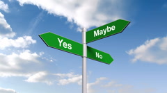 Yes no maybe signpost against blue sky - stock footage