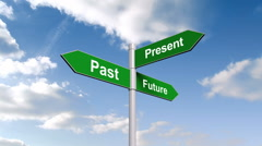 Past present future signpost against blue sky - stock footage