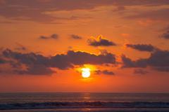 Sunset on the beach of Matapalo in Costa Rica - stock photo
