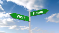 Work home signpost against blue sky - stock footage