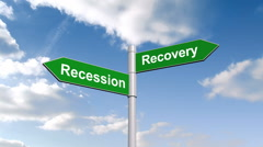 Stock Video Footage of Recession recovery signpost against blue sky