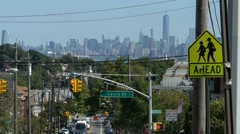 Telephoto shot of NYC Skyline from Staten Island Stock Footage