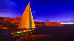 Yachting along  shore - stock illustration