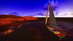 Stock Illustration of Yachting along  shore