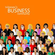Vector flat  illustration of women business community. a large group of women ( Stock Illustration