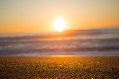 Beach, Ocean and sunset in Biarritz - stock photo