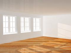 Empty room with parquet floor Stock Photos