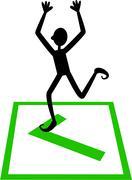 Green Tick Box Man - stock illustration
