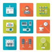 flat style conference presentation icons set - stock illustration