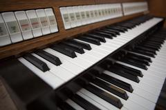 Close up view of a church organ in Lourdes - stock photo