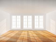 Empty room with parquet floor - stock photo