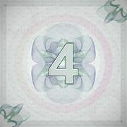 Vector illustration of number 4 (four) in guilloche ornate style. monetary Stock Illustration