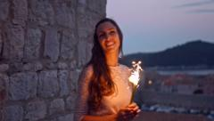 Beautiful Woman Dancing Fireworks Sparkler Fire Sunset Dusk Vacation Europe Stock Footage